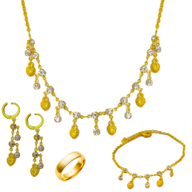 Best Trust 4 In 1 24K Gold Plated Multi Shaped Necklace Set With Ring & Bracelet. BTR565