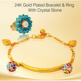 Best Trust 24K Gold Plated Bracelet & Ring With Crystal Stone, BR541