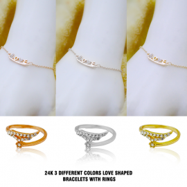 Best Trust 24K 3 Different Colors Love Shaped Bracelets With Rings, BT3.3