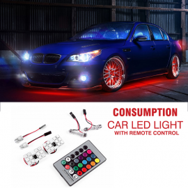 Low Energy Consumption Car Colorful LED Light With Ultra Thin Remote Control, C55