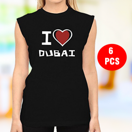 6 Pcs High quality Sleev Less Dubai T-shirt For Women, T8102