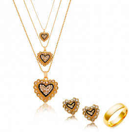 Best Trust 24K Gold Plated Heart Shaped 3 Lockets Included Necklace Set & Ring With Crystal Stone, SNM565