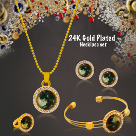 Best Trust 24K Gold Plated Multi Shaped 4pcs Jewellary Sets With Crystal Stone, BTJ4