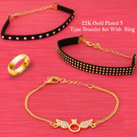 Best Trust 22K Gold Plated 3 Type Bracelet Set With 1 Ring, BRT3