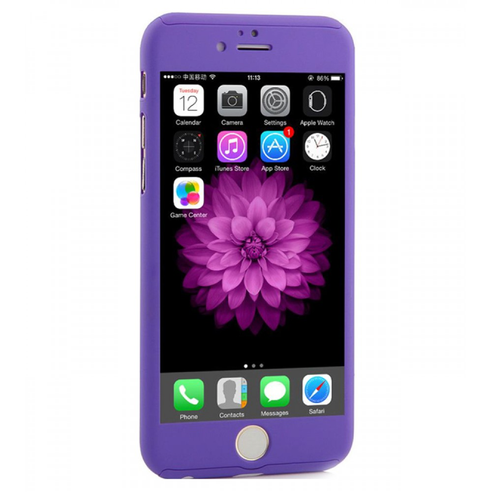 360 degree full body protection case for iphone 6 plus 6s plus purple available in uae. Black Bedroom Furniture Sets. Home Design Ideas
