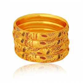 Aupa 22K Gold Plated Handmade Bangles 4 Pieces Set, 13220