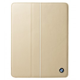 BMW Real Cream Leather Folio Case For iPad 2, 3 & iPad 4, BMFCNPLC