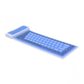 Waterproof Foldable Wireless Bluetooth Keyboard For Apple & Android Tablet & Smartphones, Blue