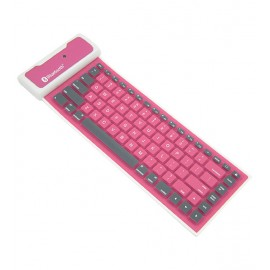 Waterproof Foldable Wireless Bluetooth Keyboard For Apple & Android Tablet & Smartphones, Pink
