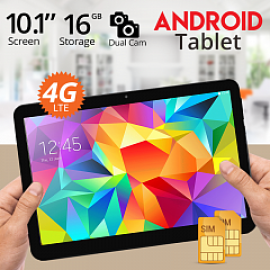 iTouch S1002, Tablet 10.1 inch, Android 5.1, 16GB, 4G, Wi-Fi, 2GB DDR3, Quad Core, Dual SIM, Dual Camera,Black