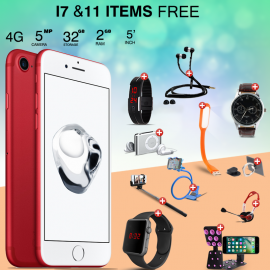 Unlimited 12 In 1 Bundle Offer, Lenosed I8, Universal Rotating Holder, Portable USB LED Lamp, Zipper Stereo Wired Earphones, Ring Holder, Headphone, Mobile holder, Macra watch, Yazol watch, Selfie stick, Mp3 player, Led band watch