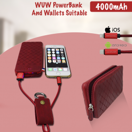 WUW 4000mAh PowerBank And Wallets Suitable For Apple Iphone 7-6-6s & Samsung With Lightning Cable, Y04