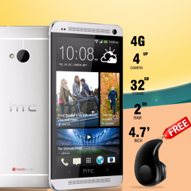2 in 1 Bundle Offer , HTC One 801R, 32GB, 4G LTE, Gold, Smallest Wireless Invisible Mini In-Ear Bluetooth Earbuds Headsets