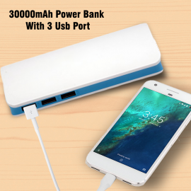 Padpad Universal 30000mAh Power Bank With 3 Usb Port And 3 Cables, PAD3