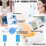 6 In 1 Bundle Offers  Smart powerbank 6000mAh, 2 In 1 Data Cable, Mobile Joystick Dual Analog Smartphone Gaming, Travel USB Power Adapter, 4-Port, Discover 163 Wireless Bluetooth Headset, White, Mini Microphone for mobile phone Mic, SM868