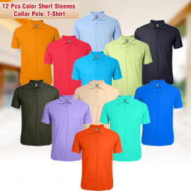 Vivace Indian Mens Summer Solid Color Short Sleeves Turndown Collar Polo 12 Pcs T-Shirt, N183