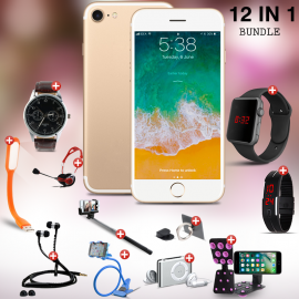 T-20 12 In 1 Bundle Offer, D-Horse i7 cell phone, Universal Rotating Holder, Portable USB LED Lamp, Zipper Stereo Wired Earphones, Ring Holder, Headphone, Mobile holder, Macra watch, Yazol watch, Selfie stick, Mp3 player, Led band watch