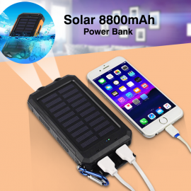Solar Charger, Solar Power Bank 8800mAh External Backup Battery Pack Dual USB Solar Panel Charger with 2LED Light Carabiner Compass Portable for Emergency Outdoor Camping Travel