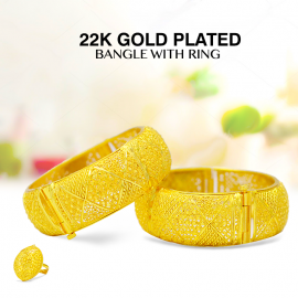Trust Best 22K Gold Plated Ladies Elegant 2pcs Bangle With Ring, TB50