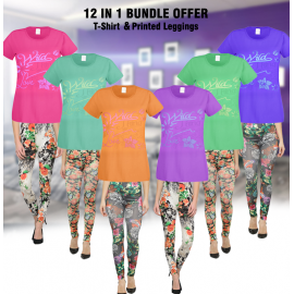 12 piece Diamond 2 In 1 Bundle Offer, Diamond 6 pcs Set Assorted Color T-Shirt For Women, Olizo Diamond Leggings Comfort With Style 6 Pcs Set, D658