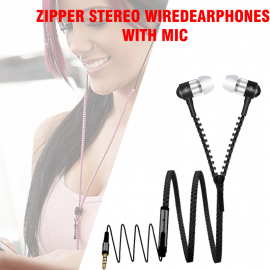 Zipper Stereo Wired Earphones with Mic, Black