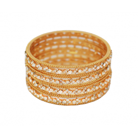 Dakkak Fashion 18K Gold Plated Cubic Crystal Stone High Finishing 4 pcs Bangles, DK09