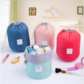 2 pcs Cosmetic Bag High Capacity Drawstring Elegant Drum Wash Bags Makeup Organizer Storage Bag, HP3365