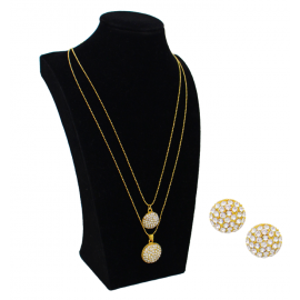 Sana 22K Gold Plated 2 Layer White Crystal Stone Roud Shape Necklace Set, SN248
