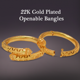 Exons Arts 22K Gold Plated Handmade Openable 2 Pcs Bangles, EX456