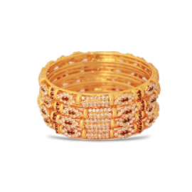 Dakkak Fashion 22K Gold Plated 4Pcs Handmade Zircon Bangle, DK028