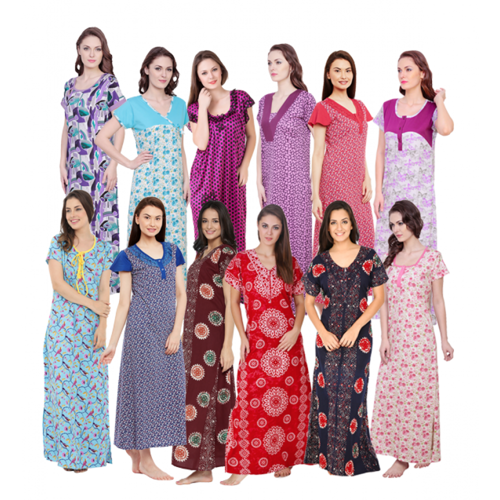 12 Pice Comfort Ladies Night Wear Women Lingerie Nightgown Assorted ...