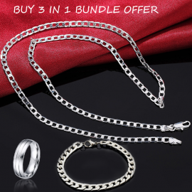 Buy 3 In 1 Bundle Offer, Sana Jewelry Silver Plated Chain Necklace, Bracelet With Ring SJR034