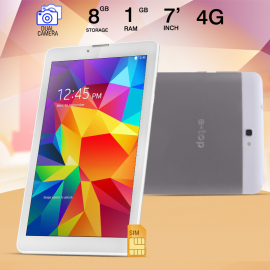 E-TOP T231, Tablet 7 inch, Android 4.4.2, 8GB, Dual Core, 4G LTE, Wi-Fi, Dual Camera, Silver