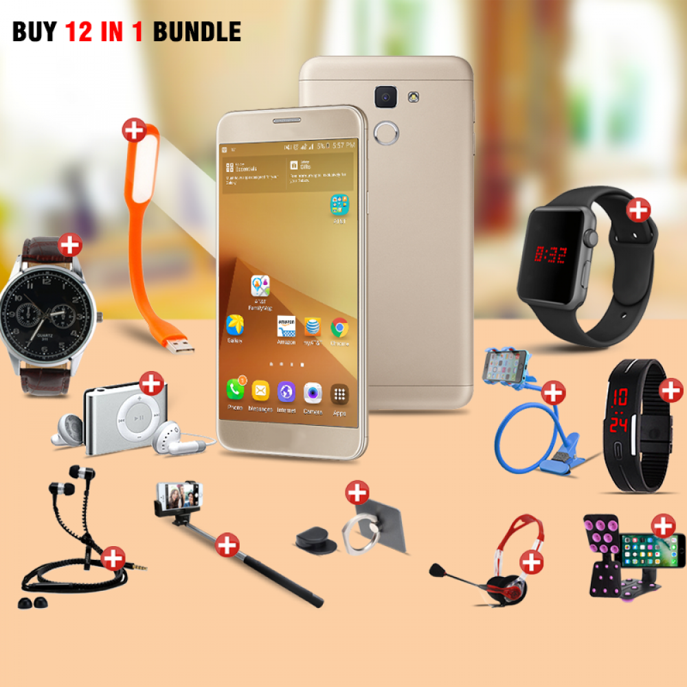 Lucky 12 In 1 Bundle Offer, H-mobile J7 Prime, Universal Rotating Phone Plate Holder, Portable USB LED Lamp, Zipper Stereo Wired Earphones, Ring Holder, Headphone, Mobile holder, Macra watch, Yazol watch, Selfie stick, Mp3 player, Led band watch
