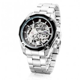 Forsining Automatic Mechanical Watch Luxury Stainless Steel Strap Wrist Watch For Men, Silver, F1030