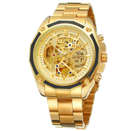 Forsining Automatic Mechanical Watch Luxury Stainless Steel Strap Wrist Watch For Men, Gold, F1030